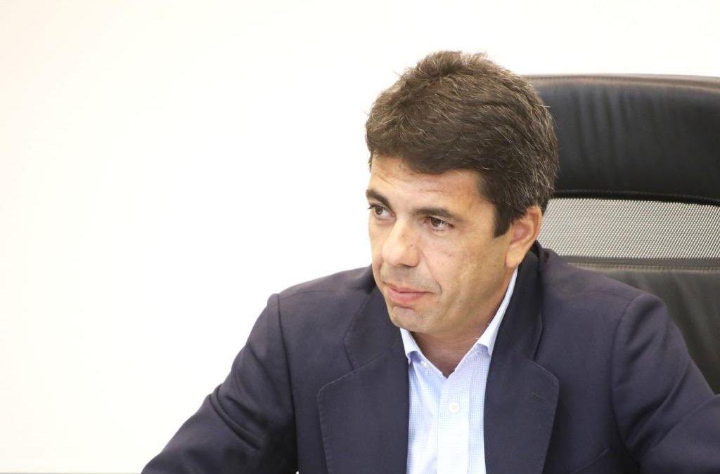 """Mazón insta a Alfaro a desautorizar las declaraciones de Oltra y a defender al sector turístico que trabaja """"codo con codo"""" con los ayuntamientos valencianos"""