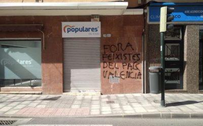 El Partido Popular condena los ataques a sus sedes locales de Elda y Petrer
