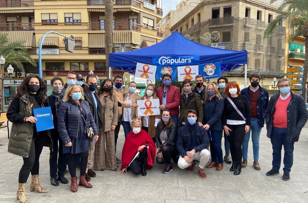 El Partido Popular de la Provincia de Alicante se suma este domingo a la protesta en contra de la Ley Celaá