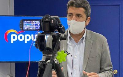 """Carlos Mazón: """"Puig tiene que ir a Madrid a reclamar el agua y la financiación autonómica para la Comunidad, no a ver cómo se avanza en els Països Catalans""""."""